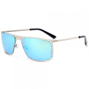Stylish Hollow Out Silver Alloy Rectangle Frame Sunglasses For Men -
