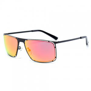 Chic Hollow Out Black Alloy Rectangle Frame Sunglasses For Women - WATER RED