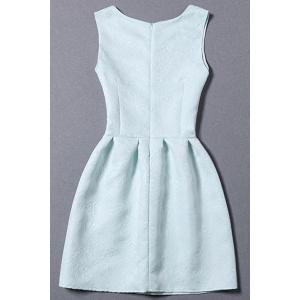 Sleeveless Jacquard Dress - LIGHT BLUE S