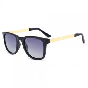 Chic Golden Alloy Leg Matte Black Frame Sunglasses For Women - GRAY