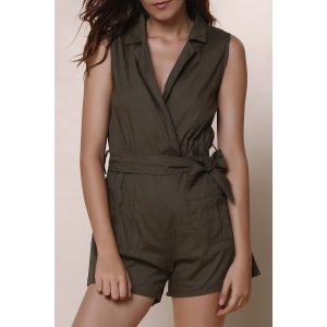 Casual Turn-Down Collar Solid Color Romper For Women