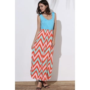 Scoop Neck Sleeveless Chevron Maxi Sundress - GREEN S