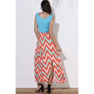 Scoop Neck Sleeveless Chevron Maxi Sundress -