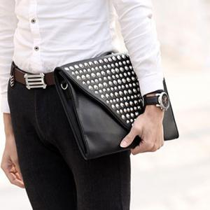 Fashion Solid Color and Rivets Design Clutch Bag For Men -