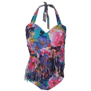 Plus Size Halterneck Print Fringed One Piece Swimwear