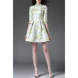 Stand Collar Floral Print Half Sleeve Ball Dress -