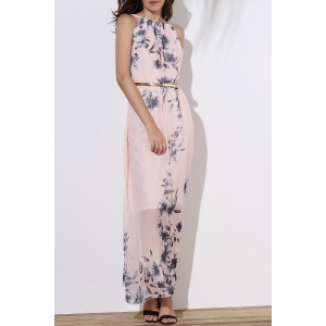 Floral Long Flowy Semi Maxi Formal Wedding Dress - Pink - L