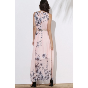 Floral Long Flowy Semi Maxi Formal Wedding Dress - PINK S
