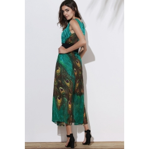 Fashionable Scoop Neck Peacock Feather Print Sleeveless Dress For Women -