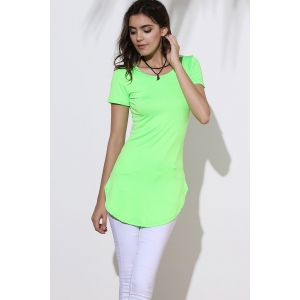 Side Split Mini Dress with Sleeves - GREEN XL