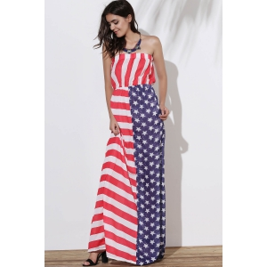 Strapless Floor Length American Flag Print Dress - AS THE PICTURE M