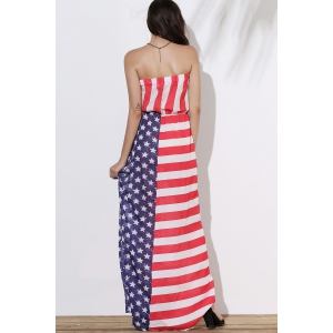 Patriotic American Flag Maxi Bandeau Dress - COLORMIX M