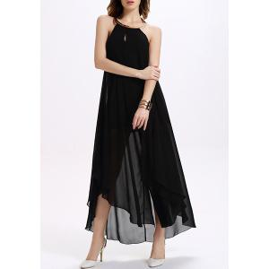 Backless Maxi Chiffon Sheer Cocktail Dress - Black - Xl