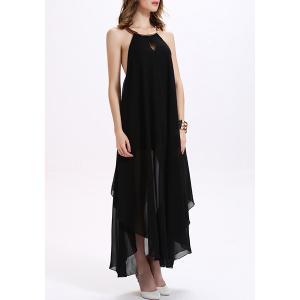 Backless Maxi Chiffon Sheer Cocktail Dress - BLACK M