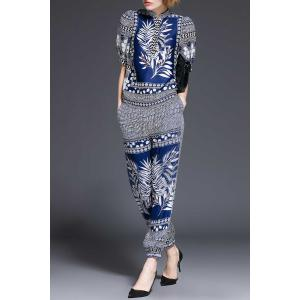 Stand Collar Plant Print Blouse and Pants Twinset -