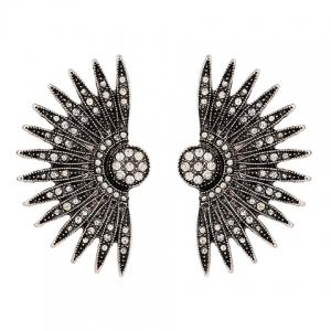 Pair of Rhinestone Palm Leaf Stud Earrings