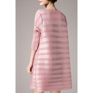 Women's Fashionable Jewel Neck Short Sleeve Dress - PINK ONE SIZE(FIT SIZE XS TO M)