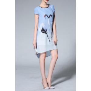 Scoop Neck Swan Print Chiffon Dress -