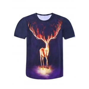 3D Starry Sky Elk Printing Round Neck Short Sleeves Fitted T-Shirt For Men