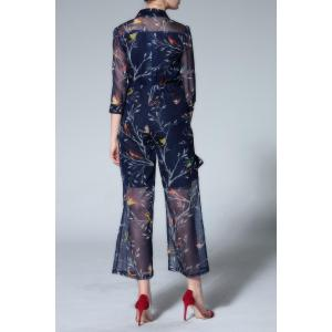 Shirt Collar Printed Ninth Jumpsuit -