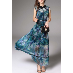 See-Through Maxi Floral Print Dress -
