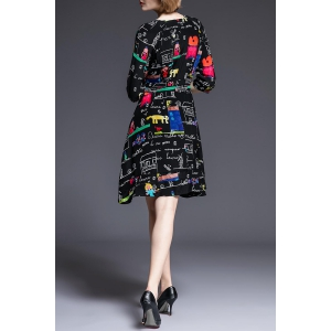 Round Collar Cartoon Print 3/4 Sleeve Dress -