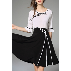 Bell Bottom Sleeve Blouse and Slit Skirt Twinset -