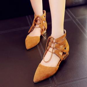 Openwork Lace Up Flats -