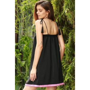 Ethnic Embroidered Cami Dress For Women - BLACK S