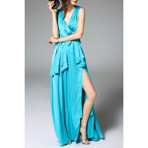Ruffled Split Evening Dress -