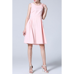 Scoop Neck Pleated Solid Color Tank Dress -