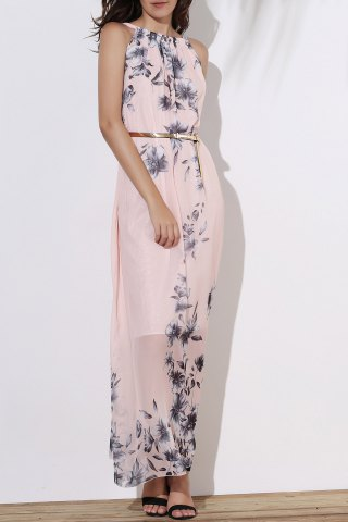 Fashionable Round Collar Sleeveless Floral Print Women's Maxi Dress
