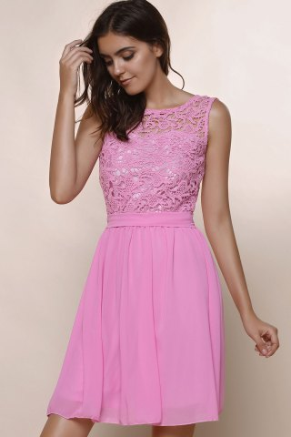 Chic Sleeveless Casual Flowy Skater Dress - S DEEP PINK Mobile