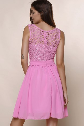 Unique Sleeveless Casual Flowy Skater Dress - S DEEP PINK Mobile