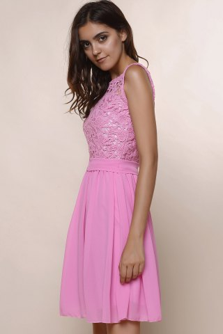 Discount Sleeveless Casual Flowy Skater Dress - S DEEP PINK Mobile
