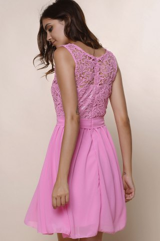 Outfits Sleeveless Casual Flowy Skater Dress - S DEEP PINK Mobile