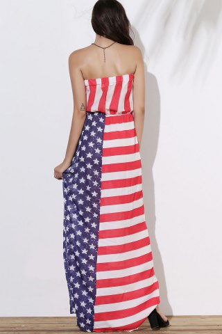 Trendy Patriotic American Flag Maxi Bandeau Dress - M COLORMIX Mobile