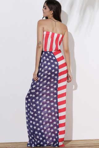 New Patriotic American Flag Maxi Bandeau Dress - M COLORMIX Mobile