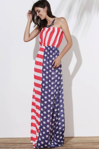 Affordable Patriotic American Flag Maxi Bandeau Dress - M COLORMIX Mobile