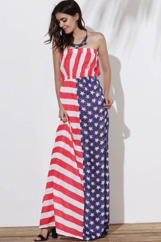 Affordable Patriotic American Flag Maxi Bandeau Dress - L COLORMIX Mobile