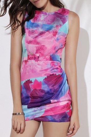 Affordable Stylish Round Neck Sleeveless Printed Asymmetrical Bodycon Women's Dress COLORMIX S