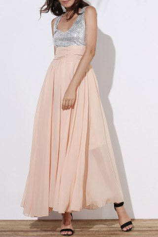 Sequin Empire Waist Chiffon Long Prom Evening Dress - Golden - Xl