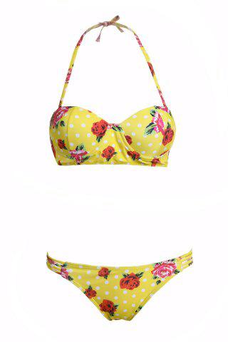 Outfit Sweet Halter Floral Print Bikini Set For Women