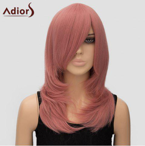 Best Women's Trendy Adiors Long Layered Side Bang High Temperature Fiber Cosplay Wig - PINK  Mobile