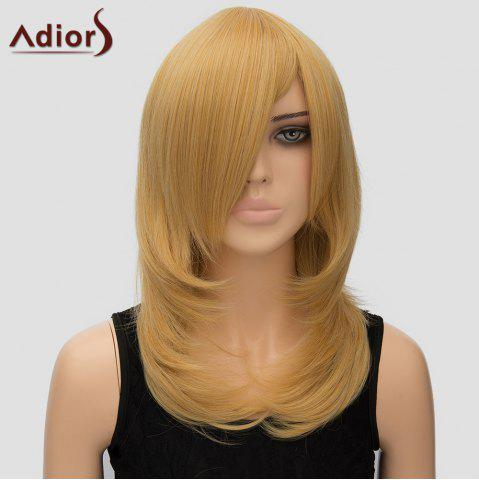Affordable Women's Adiors Long Layered Side Bang High Temperature Fiber Cosplay Wig - GOLDEN  Mobile