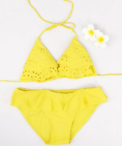 Sale Women's Stylish Halter Solid Color Flounce Bikini Suit Swimwear