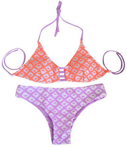 Cheap Women's Stylish Halter Geometrical Print Bikini Suit Swimwear