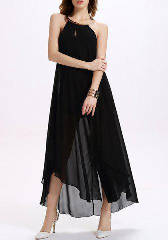 Store Backless Maxi Chiffon Sheer Cocktail Dress BLACK M