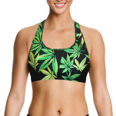 Latest Racerback Leaf Print Gym Bra