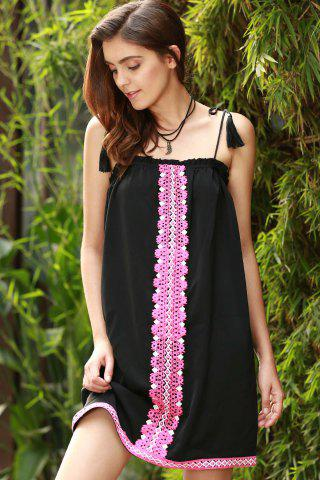 Chic Ethnic Embroidered Cami Dress For Women - S BLACK Mobile